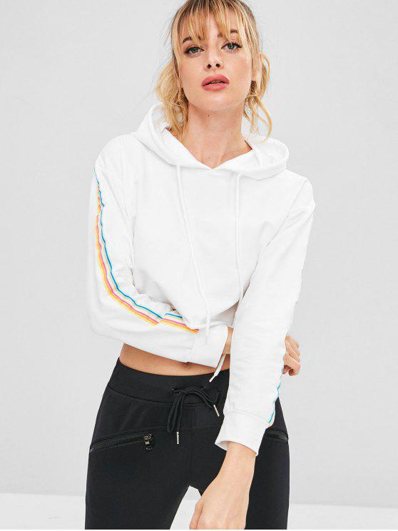 ladies ZAFUL Colorful Striped Drop Shoulder Hoodie - WHITE S