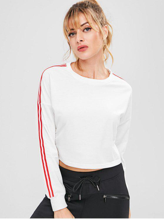 hot ZAFUL Striped Drop Shoulder Crop Sweatshirt - WHITE M