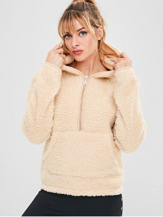 shops ZAFUL Faux Fur Zipper Kangaroo Pocket Hoodie - BLANCHED ALMOND S