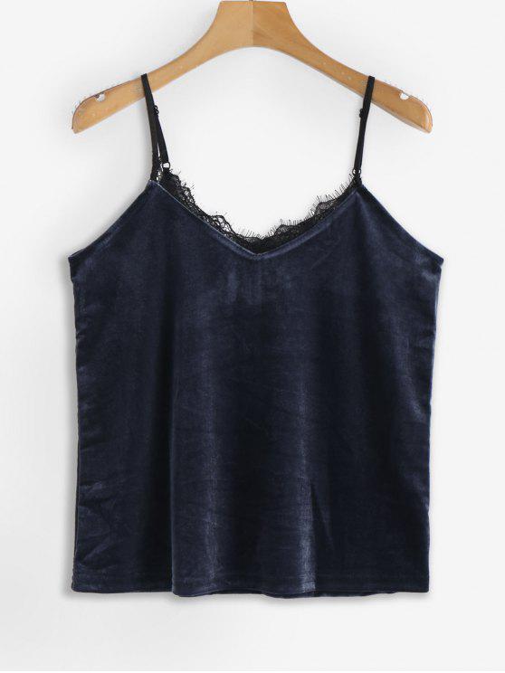 Contraste Lace Trim Velvet Cami Top - Azul da Meia Noite M