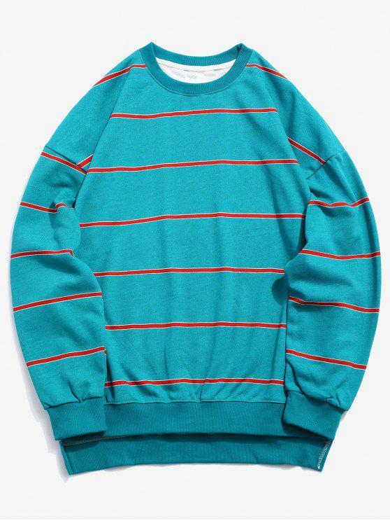 trendy High Low Hem Striped Sweatshirt - MACAW BLUE GREEN L