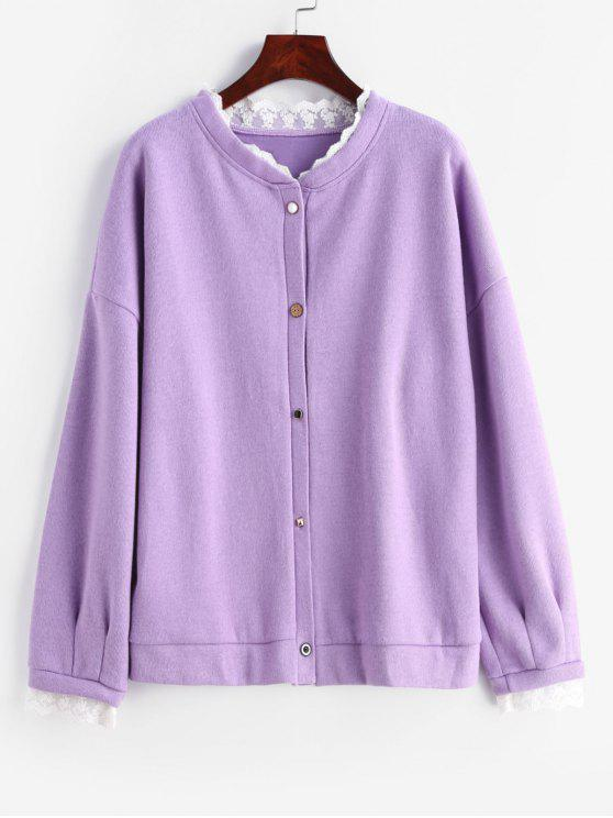 best Button Up Lace Panel Plus Size Cardigan - MAUVE 1X