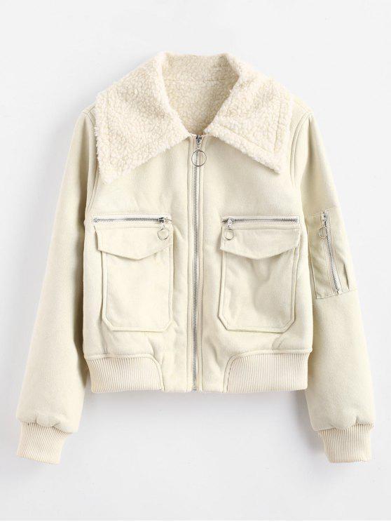 shops Faux Suede Zip Up Sheepskin Jacket - WARM WHITE M