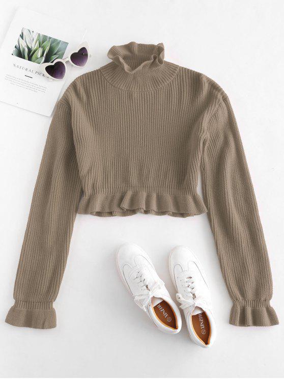 online Solid Color Ruffles Crop Sweater - TAN M