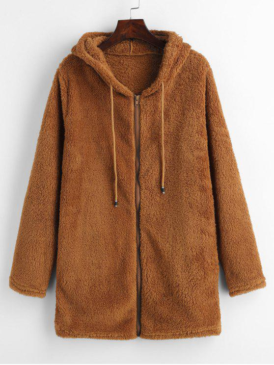 women Furry Fleece Zip Up Long Hoodie - BROWN M
