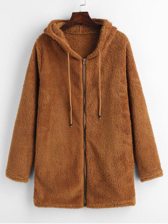 ladies Furry Fleece Zip Up Long Hoodie - BROWN XL