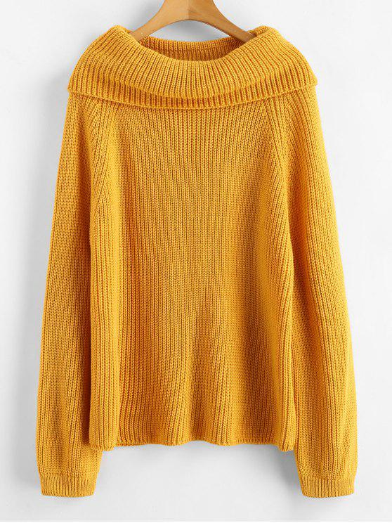 outfits Raglan Sleeve Cowl Neck Sweater - BEE YELLOW ONE SIZE