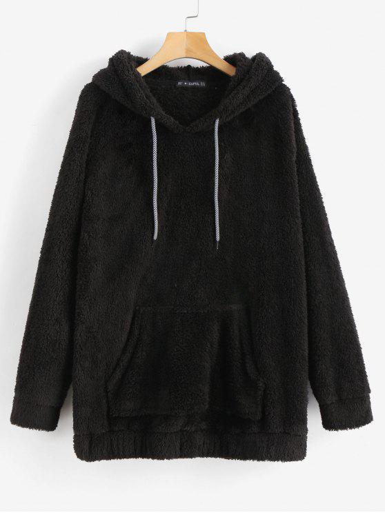 unique Kangaroo Pocket Plain Faux Fur Hoodie - BLACK L