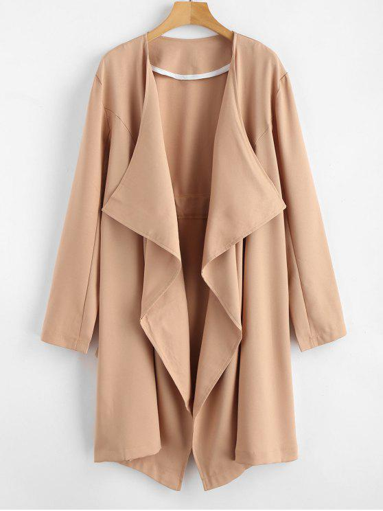 outfits Open Front Draped Trench Coat - CAMEL BROWN XL