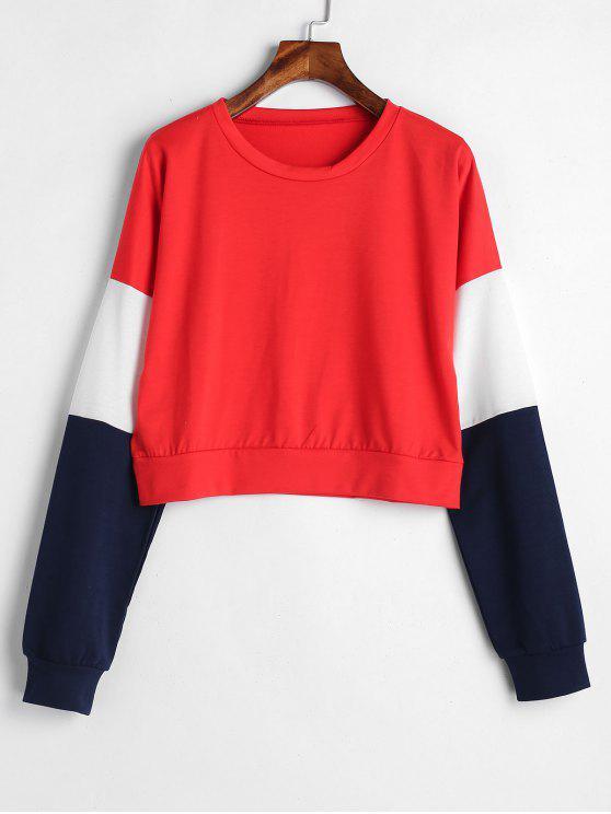 Sweat-shirt Court en Blocs de Couleurs - Rouge S