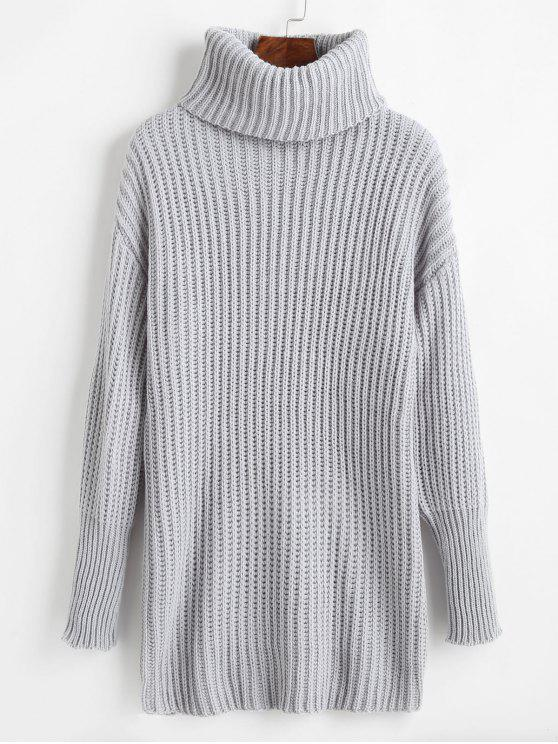 unique Relaxed Drop Shoulder Turtleneck Sweater - LIGHT GRAY ONE SIZE