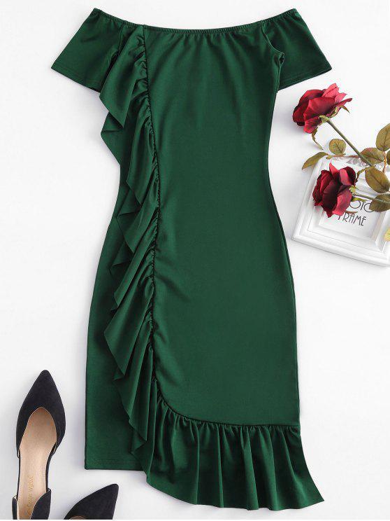 Fora do ombro babados bodycon dress - Verde Médio do Mar S