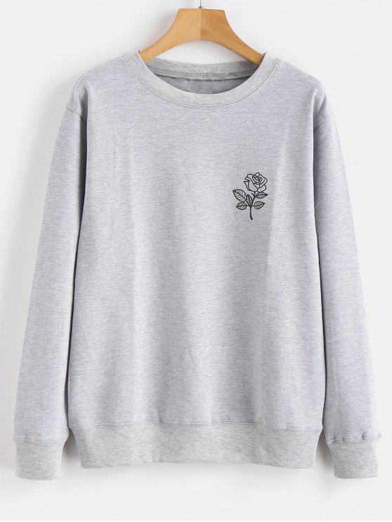 Sweat-shirt Graphique Floral Imprimé - Gris Clair S
