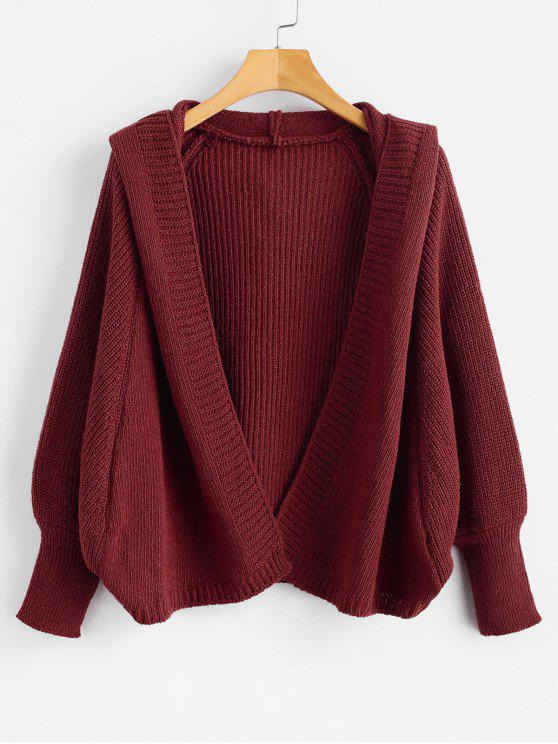 online Hooded Open Front Batwing Cardigan - RED WINE ONE SIZE