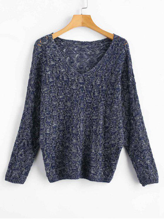 new V Neck Open Cable Knit Sweater - MULTI ONE SIZE