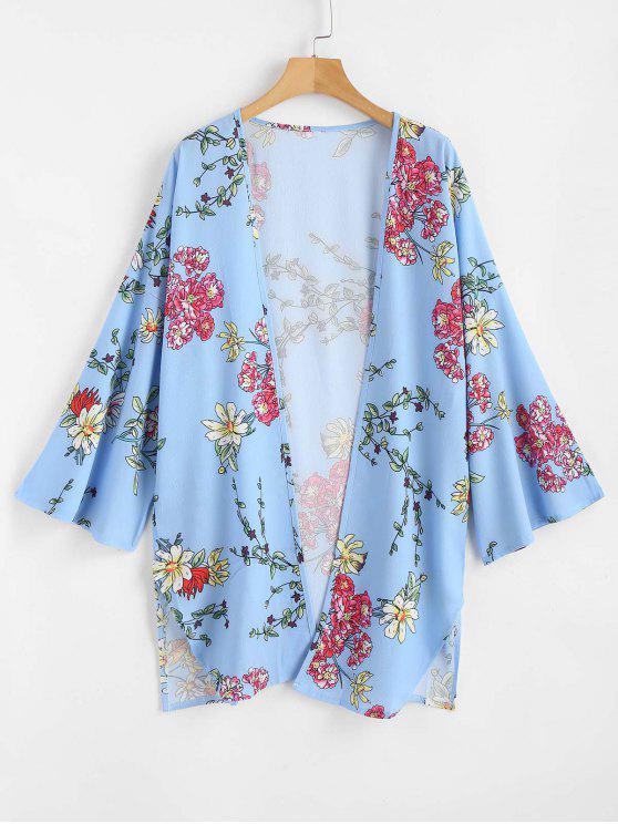 latest Floral Print Open Front Kimono Top - SEA BLUE L