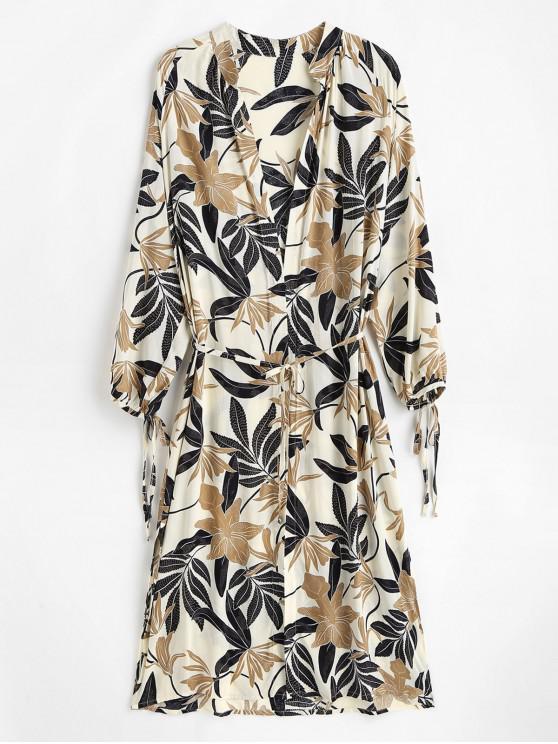 fashion Leaf Print Tie Side Slit Kimono - CRYSTAL CREAM ONE SIZE