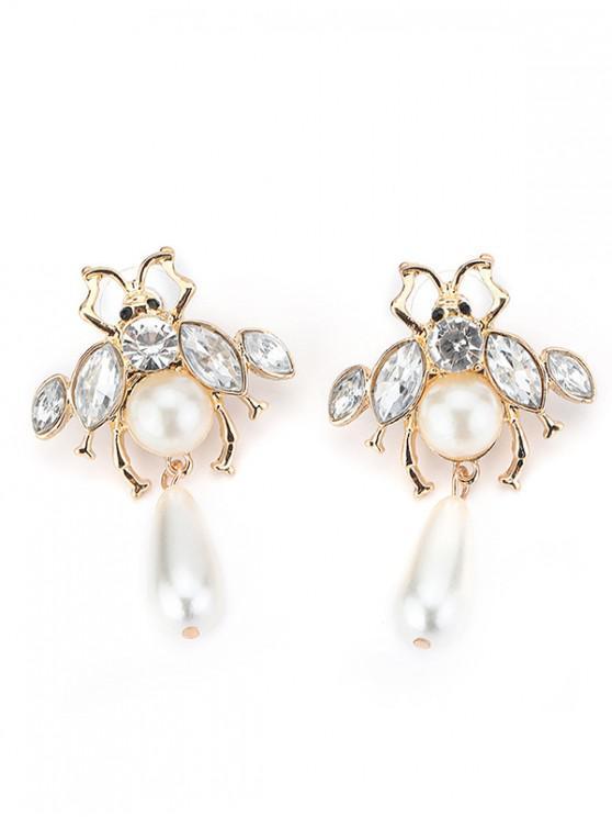 women Faux Pearl Decoration Honeybee Earrings - GOLD