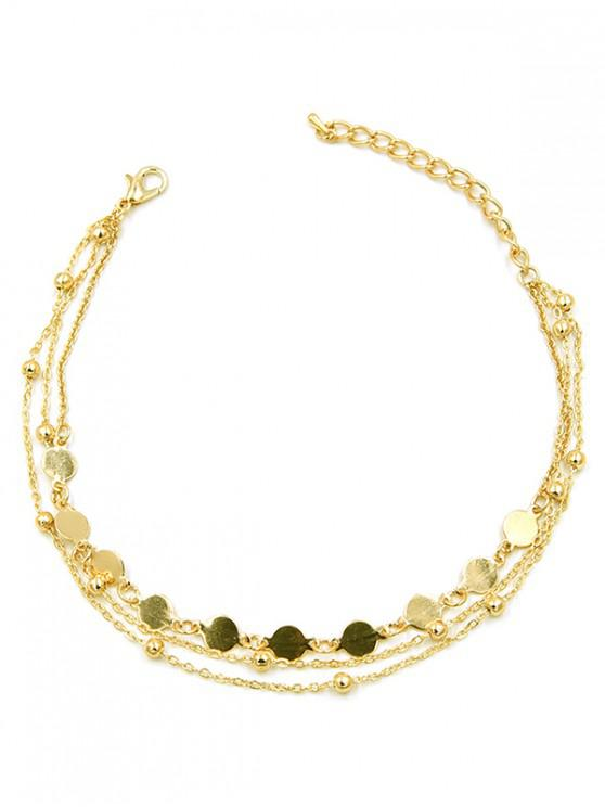 women's Round Shape Beaded Alloy Chain Anklet - GOLD
