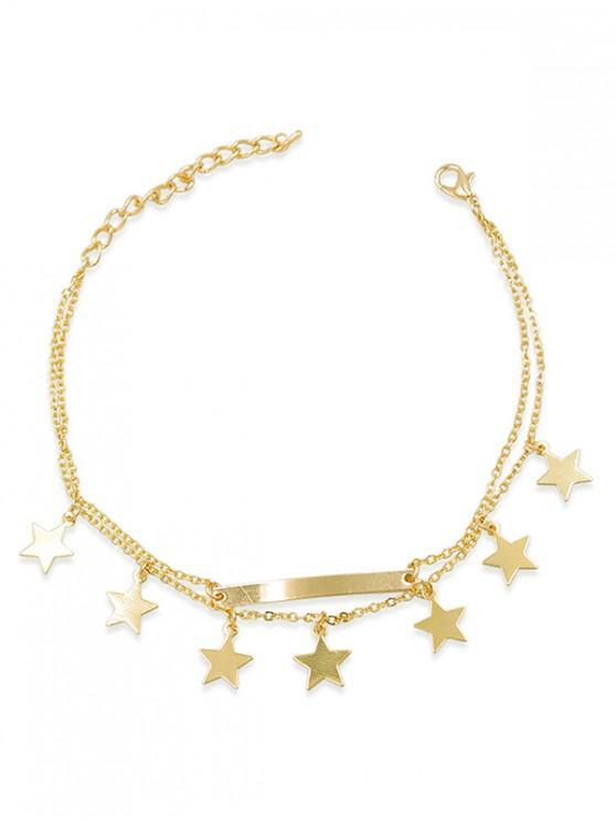 Layered Bar Design Star-Kettenfußkettchen - Gold