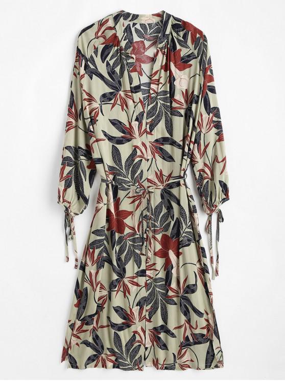 Kimono fendu sur le côté avec lien noué - Vert Foncé de Mer Taille Unique