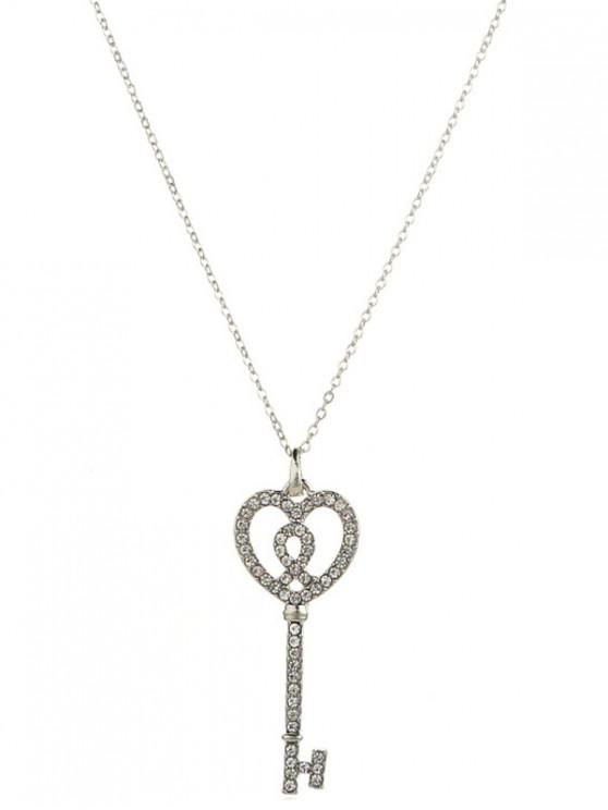 shop Artificial Crystal Inlaid Key Sweater Chain - SILVER