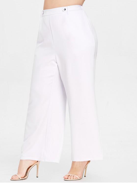 fashion ZAFUL Wide Leg Plus Size Casual Pants - WHITE 3X