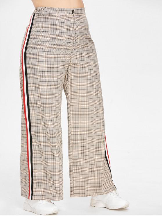 ZAFUL Plus Size Plaid - Kontrastreiche Hose mit weitem Bein - Multi L