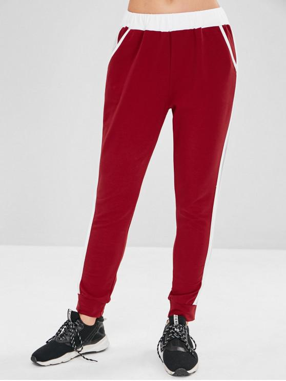 sale ZAFUL Fishnet Insert Color Block Jogger Pants - RED WINE S