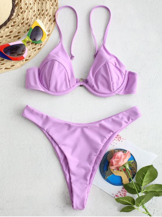 ladies ZAFUL High Cut Underwire Bikini Set - MAUVE L
