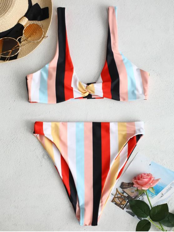 shops ZAFUL Twist Rainbow Striped Bikini Set - MULTI L