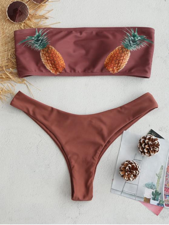 women ZAFUL Pineapple Bandeau Bikini Set - ROSY FINCH M