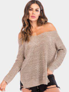 Off The Shoulder Chunky Knit Sweater - Tan L
