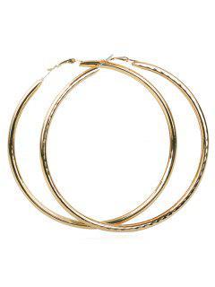 Metal Geometric Shape Hoop Earrings - Gold