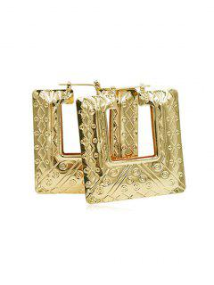 Statement Big Geometric Design Earrings - Gold