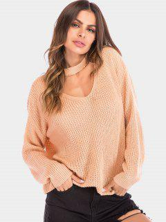 Pull Simple Epais En Tricot Avec Trou De Serrure - Orange Rose Xl