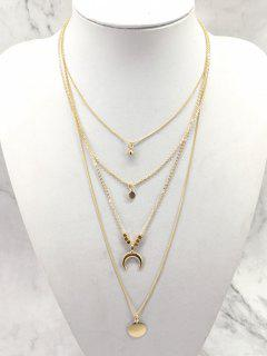 Multilayered Moon And Round Shape Pendant Necklace - Gold