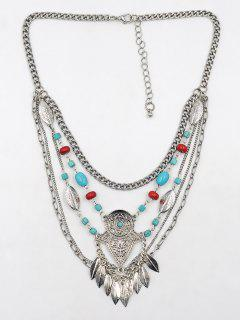Leaf Tassel Faux Turquoise Engraved Necklace - Silver