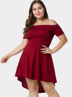 Off Shoulder Plus Size A Line Asymmetric Dress - Red Wine L