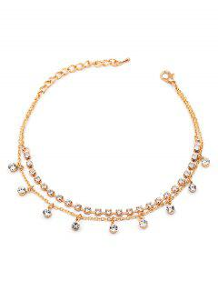 Rhinestone Embellished Anklet Chain - Gold