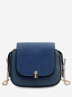 PU Leather Design Solid Color Crossbody Bag - Blueberry Blue