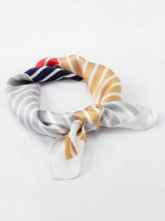 Vintage Color Block Stripe Scarf - Red