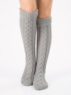 Solid Color Knitted Flanging Hose Socks - Light Gray