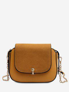 PU Leather Design Solid Color Crossbody Bag - Sandy Brown