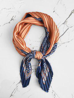 Pleated Textured Striped Scarf - Orange