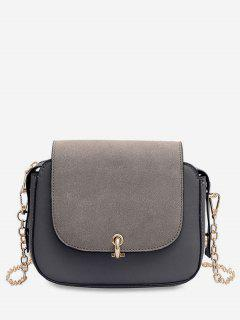 PU Leather Design Solid Color Crossbody Bag - Gray