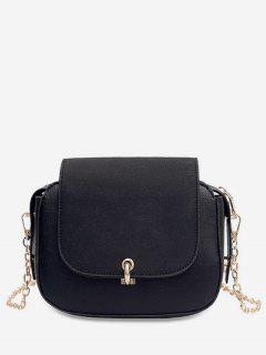 PU Leather Design Solid Color Crossbody Bag - Black