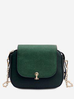 PU Leather Design Solid Color Crossbody Bag - Sea Green