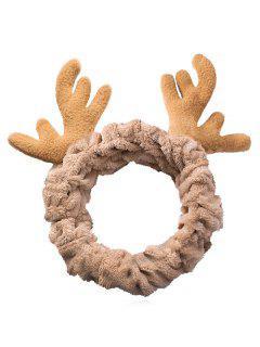 Christmas Antler Printed Fluffy Hair Band - Goldenrod