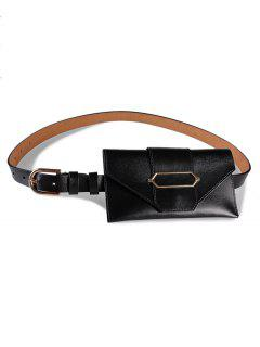 Stylish Funny Bag Faux Leather Belt Bag - Black